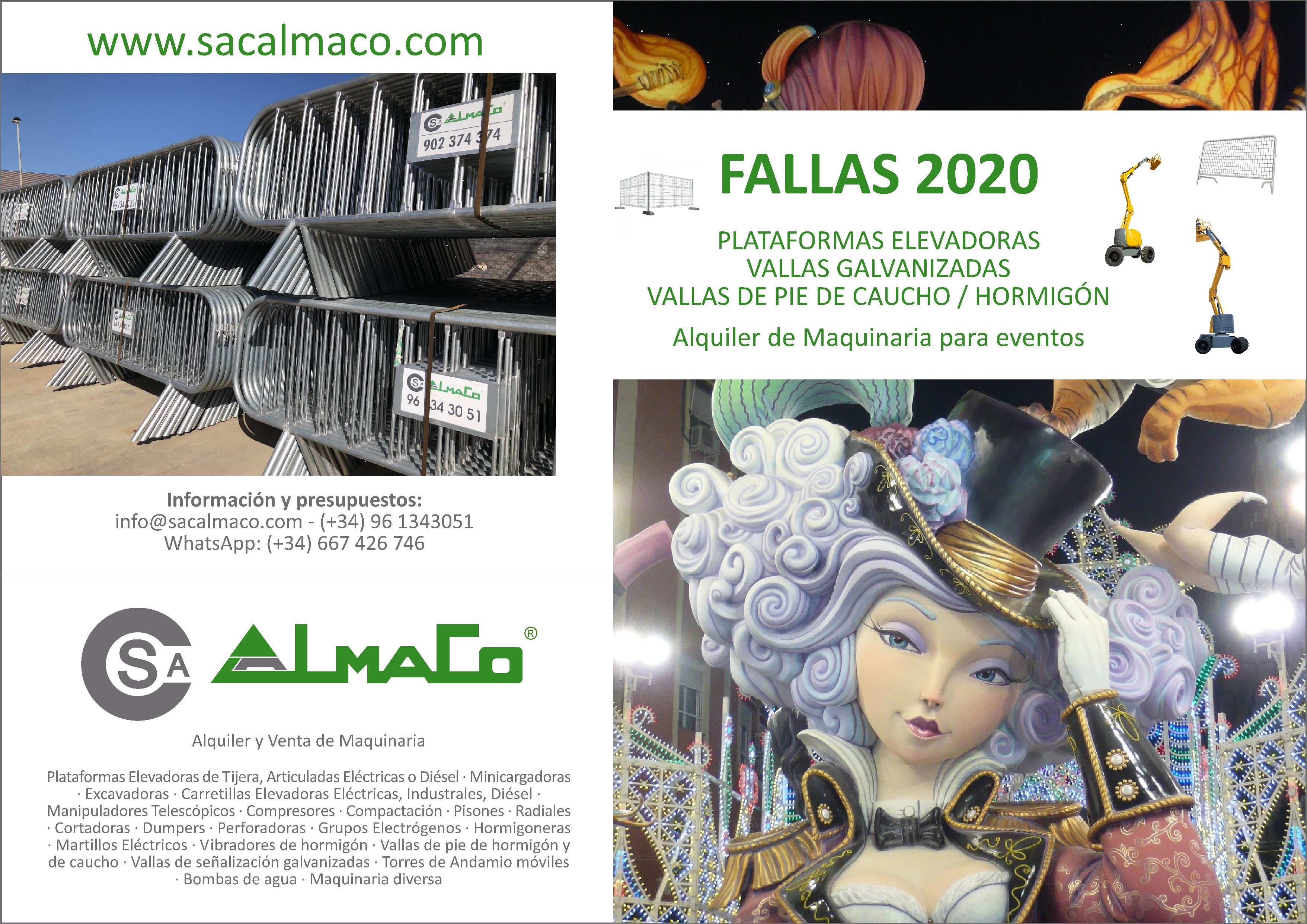 FALLAS 2020: Alquiler de Vallas, Plataformas Elevadoras, Torres de Andamio y Maquinaria en general.