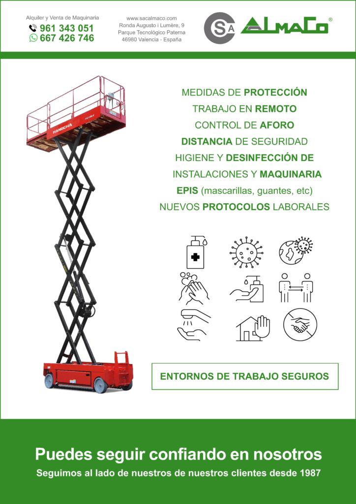 MEDIDAS CONTRA EL CORONAVIRUS SAC ALMAO ALQUILER DE MAQUINARIA VALENCIA PLATAFORMAS ELEVADORAS